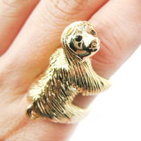 Realistic Three Toed Sloth Shaped Animal Wrap Ring in Shiny Gold | US Sizes 4 to 9