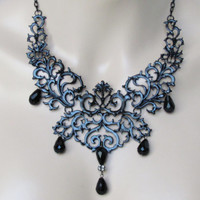 Black Necklace Victorian Necklace Renaissance Jewelry Wedding Jewelry Bridesmaids Jewelry Gothic Necklace Downton Abbey Jewelry Bridal Party