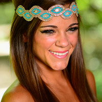 The Infinity Headband, Teal/Gold