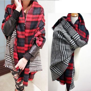 Winter Brand Women's Cashmere Scarf Plaid Oversized double faced plaid Multifunction Thicken Warm cape Shawl Free Shipping