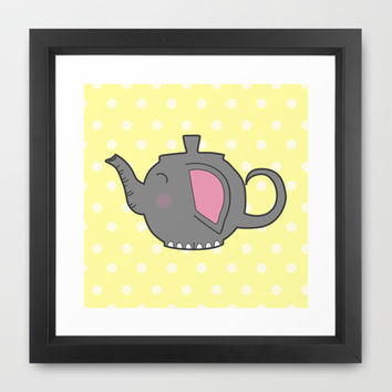 Elephant Teapot Framed Art Print by KJ53321 | Society6