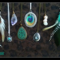 Boho, Grunge, gypsy, Hippie, Crystal, Rock, Charm, Choker, Chain, Necklaces, necklace, layering, amethyst, feather, pendant, peacock