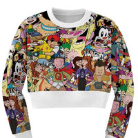 Women's 90's Cartoon Collage Sports Crop Top Fitness Sweatshirt