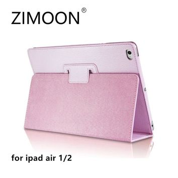 Zimoon For Apple iPad Air 1 2 Case Magnetic Auto Wake Up Sleep Flip PU Leather Folio Cover With Smart Stand Holder For iPad 5/6