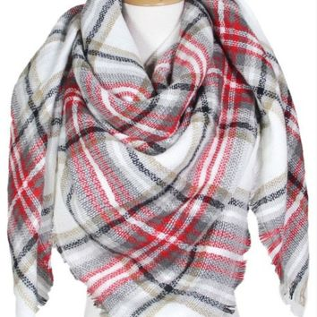 Blanket Scarf- White/Red