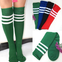 6 Colors Lady Football Striped Long Tube Tube Socks Soccer lacrosse Rugby Sport Knee High Socks free shipping