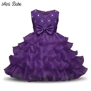 Aini Babe Baby Girls First Birthday Communion Dresses Kids Party Ball Gown Princess Bridesmaid Children Tutu Dress Girl 0-8 Year