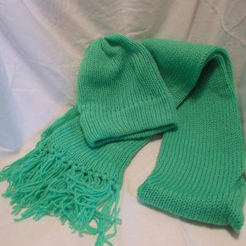 Neon Green Hand Knitted Scarf and Hat Set