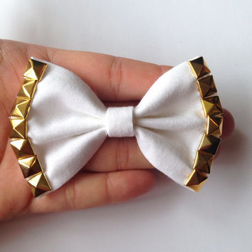 White Solid Fabric Hair Bow with Gold Studs on Alligator Clip - 3.5 Inch Wide