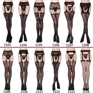 Sexy New 2017 Women Ladies Lace Floral Fishnet Net Pattern Burlesque Hoise Pantyhose Black Tights One Size