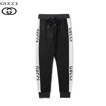 GUCCI New fashion letter print couple sports leisure pants Black