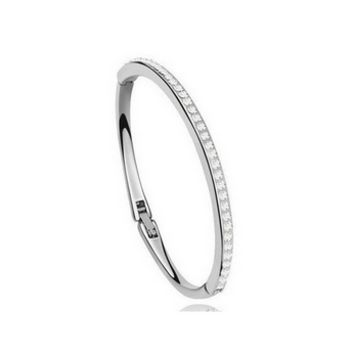 Single Row CZ Bangle Bracelet in Silver or Gold