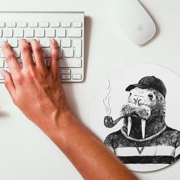 Walrus Hipster Animal Mouse Pad Mouse Mat Design