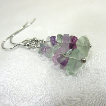 Fluorite Earrings, Pale green earrings, Pale Purple Earrings, Fluorite Chip Beads, Petite Earrings