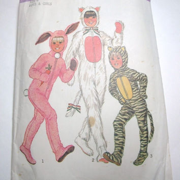 Vintage Simplicity Child Costume Pattern size 6 boy or girl rabbit cat tiger bunny kitty