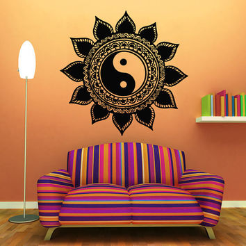 Floral Wall Decals Indian Pattern Mandala Design Sun Flower Yin Yang Vinyl Sticker Home Interior Art Mural Girl Bedroom Nursery Decor KG721