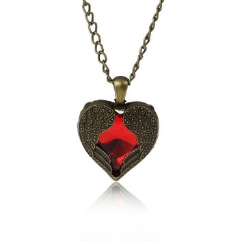 8SEASONS Love Vintage Red Hearts Design Long Necklace Angel Wings Pendant Necklaces For Women Jewelry