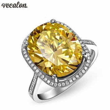 Vecalon Handmade Big Wedding Band Ring For Women Oval Cut 10Ct Aaaaa Zircon Cz White Gold Filled Engagement Rings