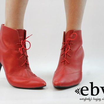 Vintage 80s Red Leather Ankle Boots size 10 Red Ankle Boots Red Leather Boots Lace Up Boots 80s Ankle Boots 80s Boots Ankle Booties