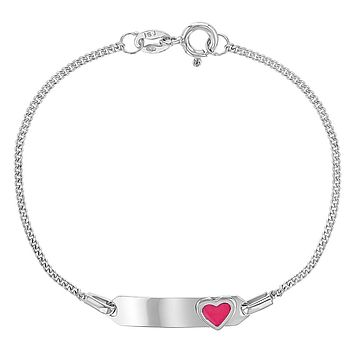 925 Sterling Silver Identification Tag Pink Heart Charm ID Bracelet for Girls 6""