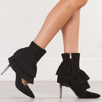 SPARKL RUFFLE POINTED TOE BOOTIES - What's New