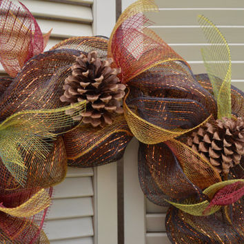 Autumn, Fall, Thanksgiving, Winter Wreath Ribbon Mesh Pine Cones