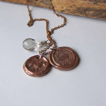 Etsy, Etsy Jewelry, Copper Clay Necklace, Stamped Clay Necklace, Compass Necklace, Bird Dog Necklace, Green Amethyst, Charm Necklace
