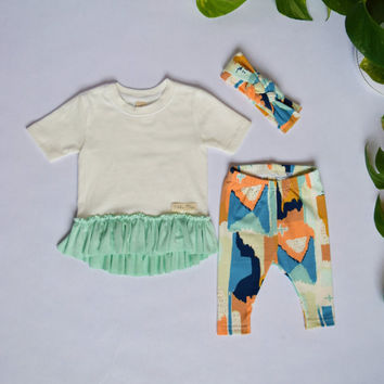 Baby girl coming home outfit/Dress and leggings set /NB-12 mo/3 piece set/