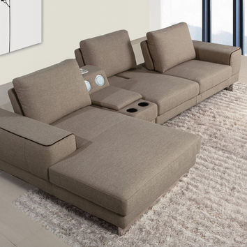 Divani Casa Gatsby - Modern Fabric Sectional Sofa with Beverage Console and Adjustable Backrests