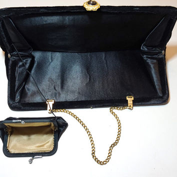 Black Velvet Purse,IDEAL Evening Bag with Change Purse,Chain Handle Clutch,Velvet Fabric Purse,Black Handbag,Velvet Bag,Vintage Party Purse