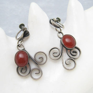 Long Sterling Carnelian Earrings Vintage Jewelry Arts and Crafts E6262