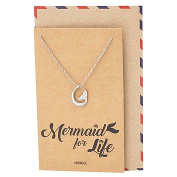 Clemence Mermaid Tail Pendant Necklace, Gifts for Mermaid Lovers with Greeting Card