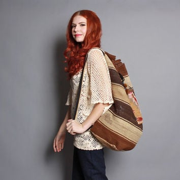 90s Oversized ETHNIC BACKPACK / Earthy Woven Kilim Wool Festival Daypack