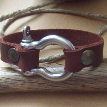 Anchor Shackle Leather Bracelet - Omega Clasp -  Fathers Mens Dads Jewelry