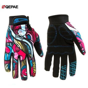 ac NOOW2 Qepae Colorful Full Finger Bicycle Gloves Anti-Slip Bike Cycling Riding Gloves for Women & Men for Skiing Motorcycle Motorbike