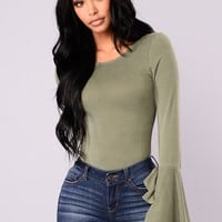 Michelle Long Bell Sleeve Top - Olive