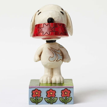 enesco peanuts snoopy with dog dish figurine jim shore new with box