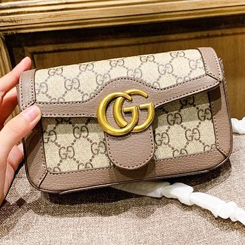 GUCCI Fashion New More Letter Leather Shopping Leisure Shoulder Bag Women