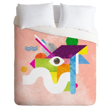 Nick Nelson Space Face Pink Duvet Cover