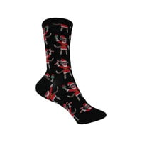 Santa Monkey Crew Socks in Black