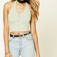 Zip-Up Halter Crop Top