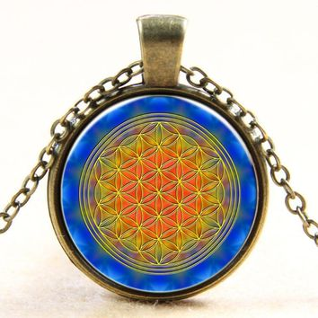 HOT multicolor OM pendant necklace - flower of life jewelry mandala statement - Yoga/Zen jewellery