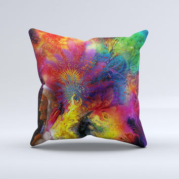 Mixed Neon Paint Ink-Fuzed Decorative Throw Pillow