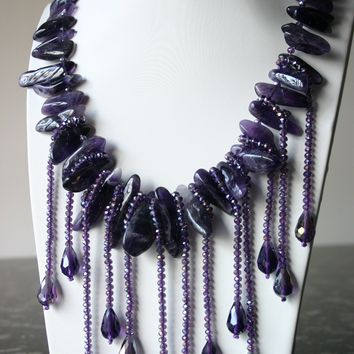 Allure Amethyst And Purple Crystal Necklace