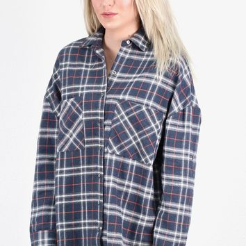 Colorful Lumberjack Flannel {Navy Grey Mix} EXTENDED SIZES