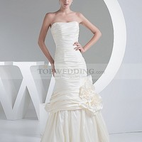 Corded Strapless Taffeta Mermaid Wedding Gown with 3D Flower