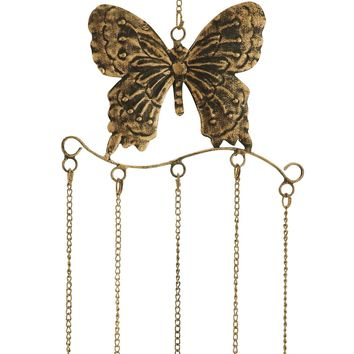 Metal Butterfly Wind Chime In Attractive Antique Brass Finish