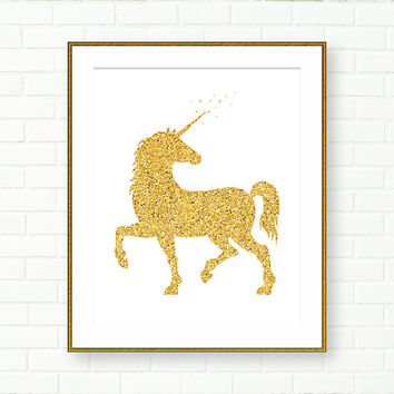 Baby Nursery Art Print, Gold Glitter, Unicorn, Gold Nursery, Fairytale, Kids Wall Decor, Magical, Girls Room, Gold Wall Art, Modern