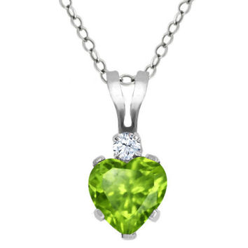 Heart Shape Green Peridot White Topaz 925 Sterling Silver Pendant