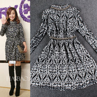 Black Turtle Neck Filigree Print Long Sleeve  A-Line Mini Dress